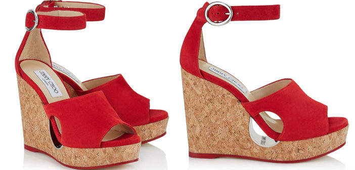 Shoe of the Day: Jimmy Choo Red Suede Cork Wedges with Cut-Out