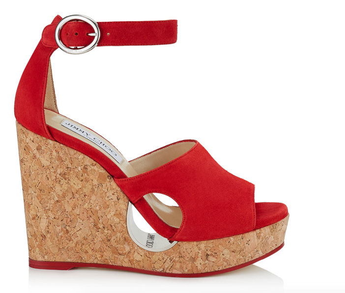 Jimmy Choo Red Suede Cork Wedges with Cut-out