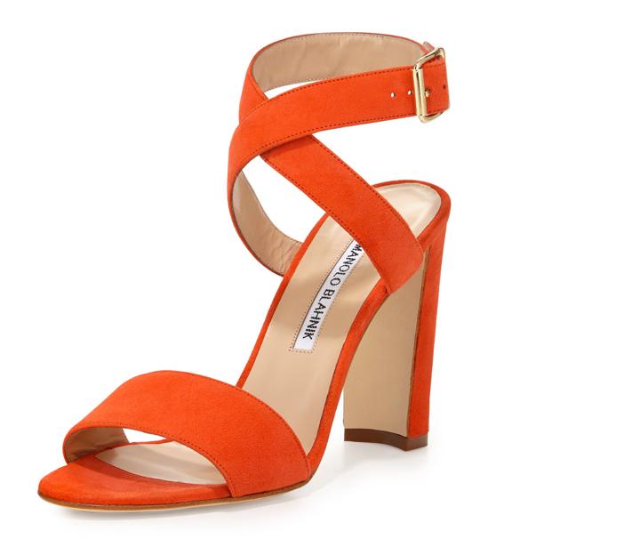 Manolo Blahnik Tondala Suede Ankle-Wrap Sandal