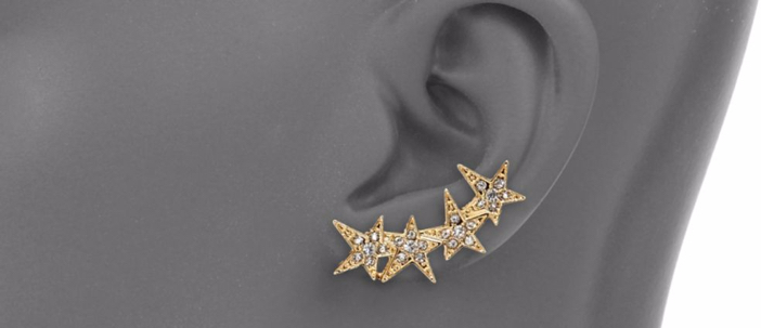 ABS by Allen Schwartz Jewelry Faceted Star Ear Crawler & Stud Earrings Set 2