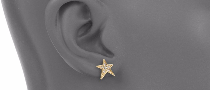ABS by Allen Schwartz Jewelry Faceted Star Ear Crawler & Stud Earrings Set 3