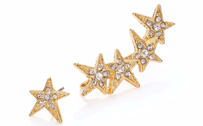 ABS by Allen Schwartz Jewelry Faceted Star Ear Crawler & Stud Earrings Set