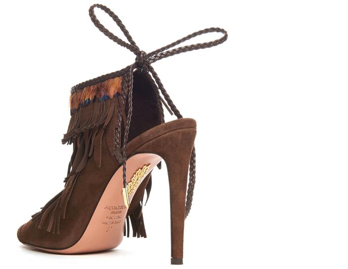 Aquazzura Fringed Suede Ankle-Tie Sandal 3