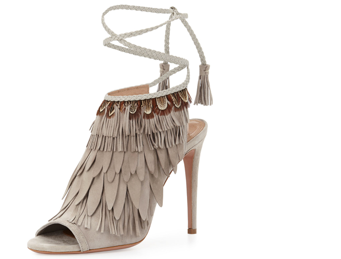 Aquazzura Fringed Suede Ankle-Tie Sandal 4