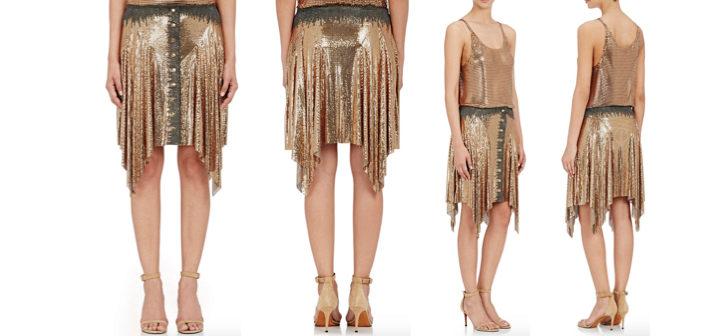 Paco Rabanne Chain-Mail Handkerchief-Hem Skirt