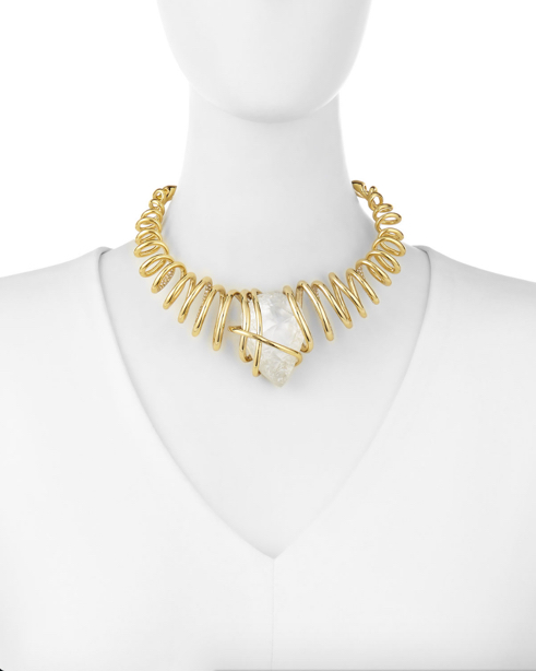 Alexis Bittar Spiral Collar Necklace w:Rock Crystal Nugget 2