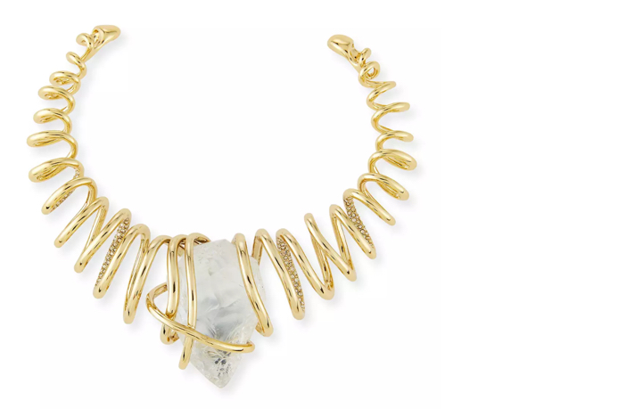 Alexis Bittar Spiral Collar Necklace w:Rock Crystal Nugget