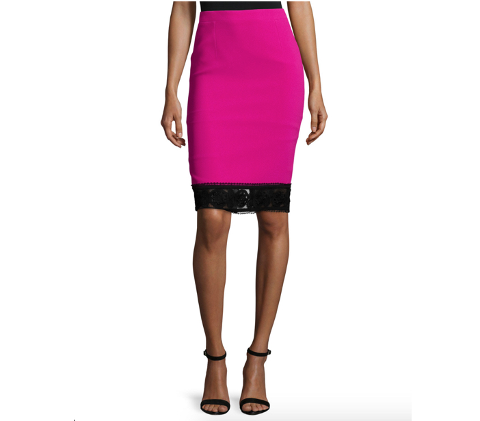 Andrew Gn Lace-Trim Crepe Pencil Skirt