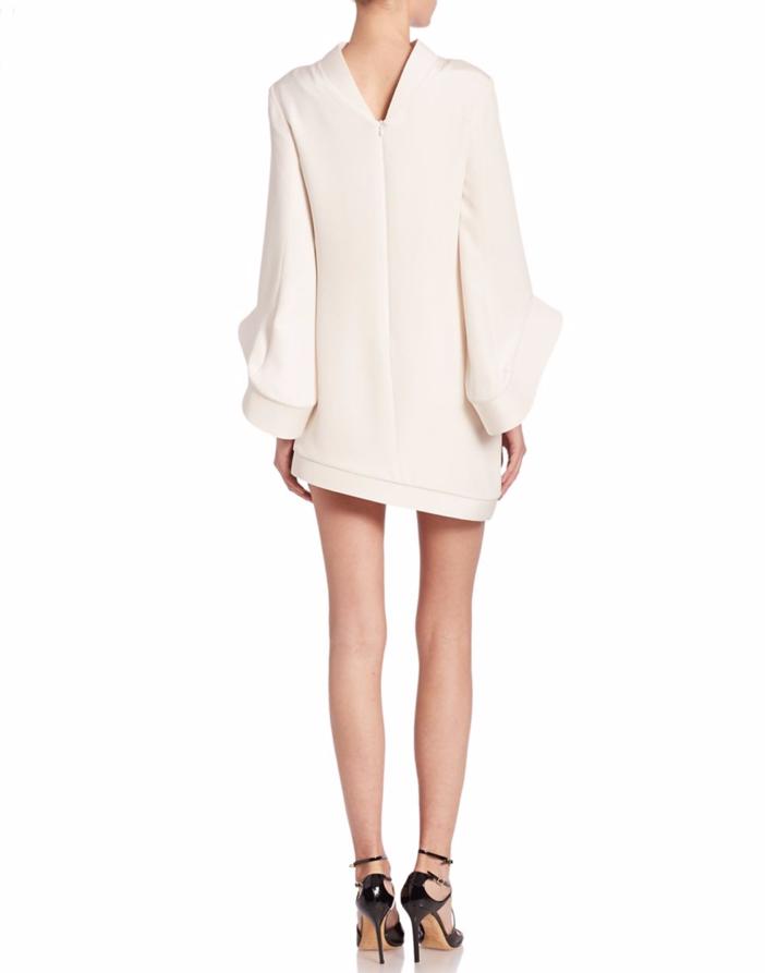 Brandon Maxwell Bell-Sleeve Asymmetrical Mini Dress 2