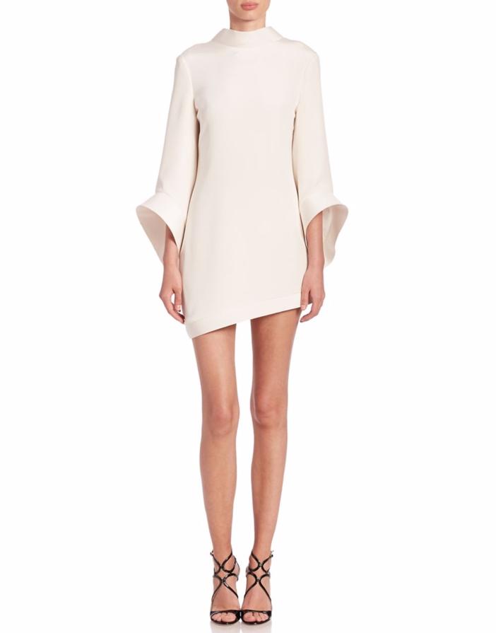 brandon maxwell bell sleeve asymmetrical mini dress