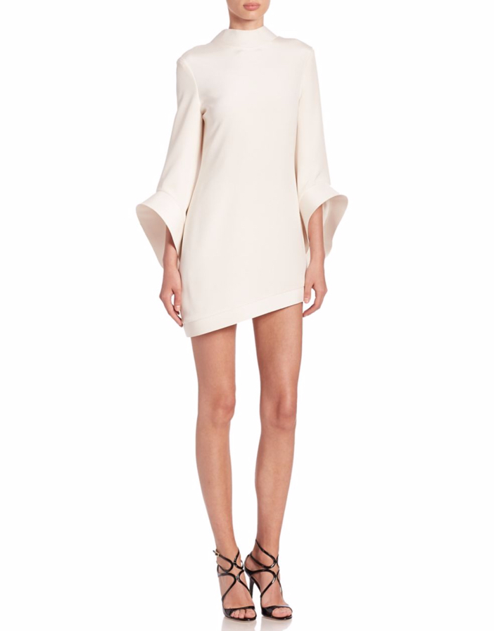 brandon maxwell bell sleeve asymmetrical mini dress
