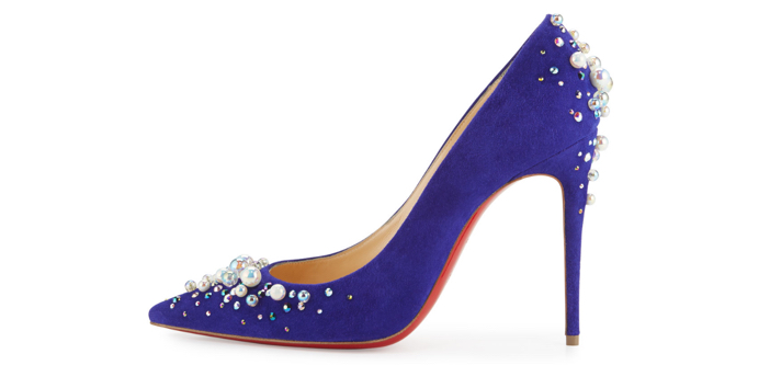 Christian Louboutin Candidate Pearly-Embellished Suede Red Sole Pump 2