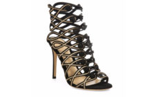 Gianvito Rossi Passemeterie Metallic-Embroidered Suede Cage Sandals 4