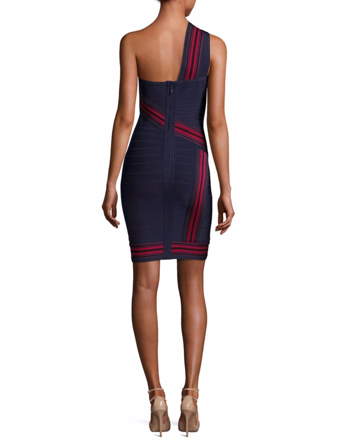 Herve Leger Striped One-Shoulder Bandage Dress 2