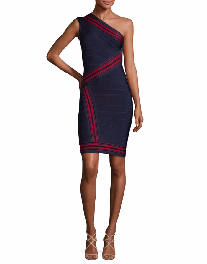 Herve Leger Striped One-Shoulder Bandage Dress 3