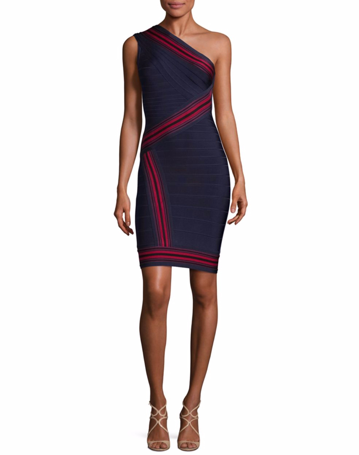 Herve Leger Striped One-Shoulder Bandage Dress
