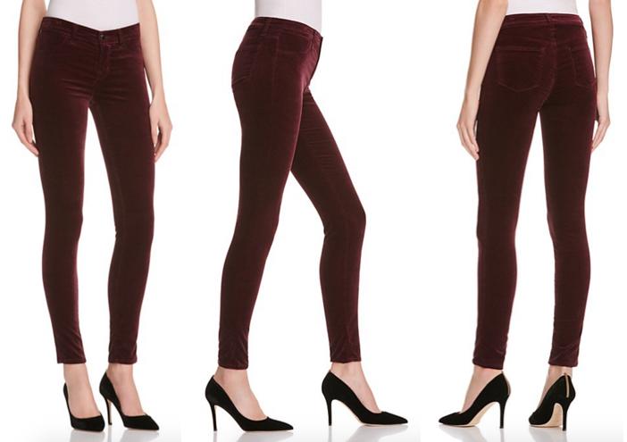 J Brand Mid Rise Velvet Skinny Jeans