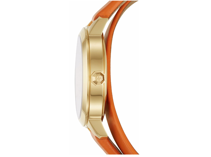 Tory Burch Collins Goldtone & Leather Double-Wrap Strap Watch 5