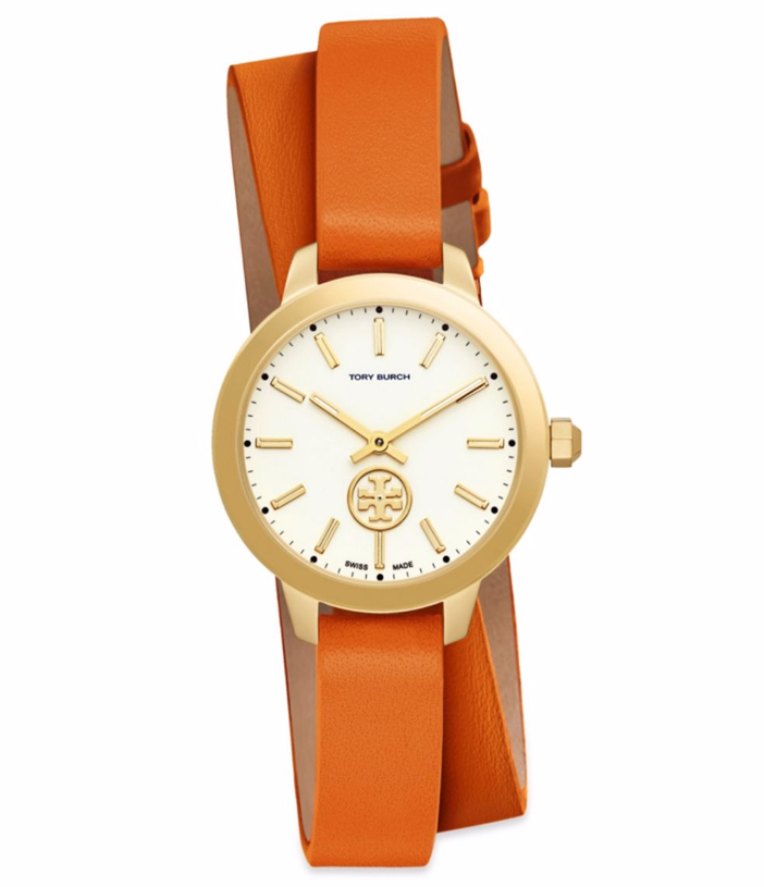 Tory Burch Collins Goldtone & Leather Double-Wrap Strap Watch