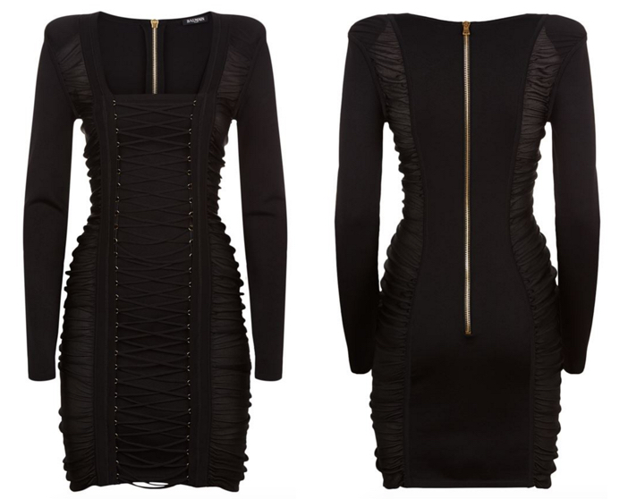Balmain Lace Up Front Knit Dress