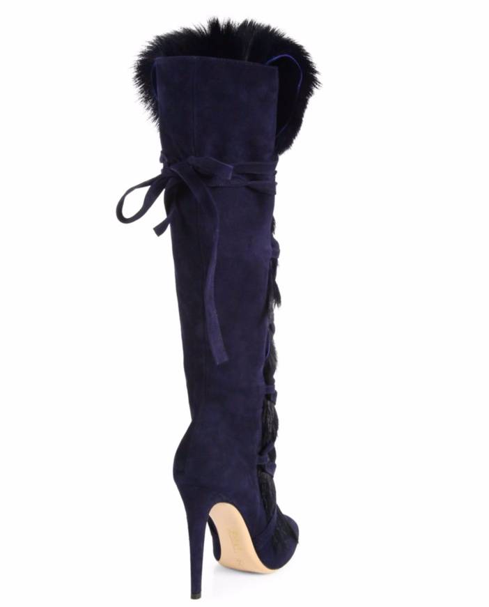 Gianvito Rossi Shearling Fur & Suede Knee-High Boots 2