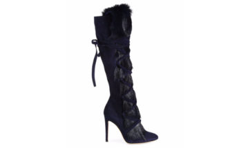 Gianvito Rossi Shearling Fur & Suede Knee-High Boots 4