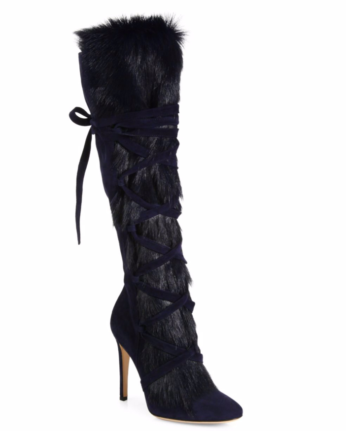 Gianvito Rossi Shearling Fur & Suede Knee-High Boots