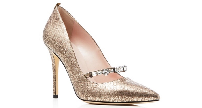 SJP by Sarah Jessica Parker Attire Metallic Snake-Embossed Pointed Toe High Heel Pumps