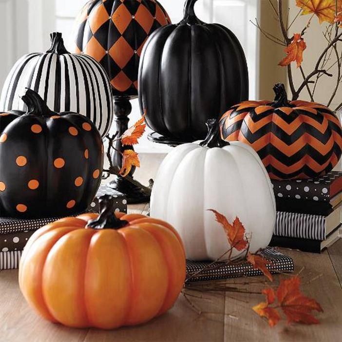 Halloween Home Decor Chic Painted Pumpkins
