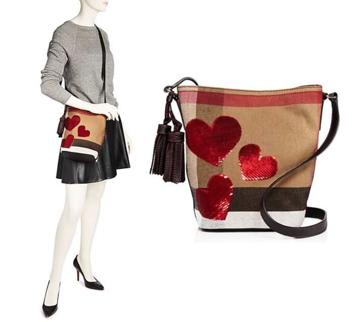 71d7cb4df3fe Burberry Ashby Canvas Check Sequin Heart Mini Crossbody