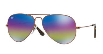 Ray-Ban Large Mirrored Iridescent Aviator Sunglasses