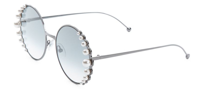 Fendi 58MM Round Sunglasses With Pearls