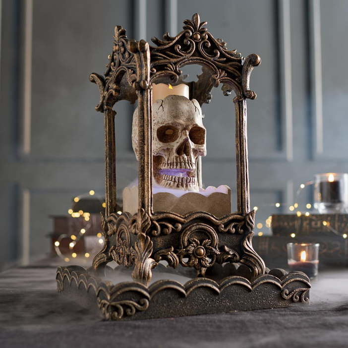 set a perfectly creepy and spooky tone in your home with grandin roads foggy skull lantern 159 when its all about the ambience this skull lantern has