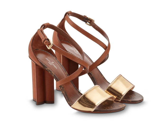 92679152c62b This cross-strap sandal combines metallic and plain calf leather with an  iconic Monogram flower heel. Wear this Louis Vuitton sandal if you want to  add an ...