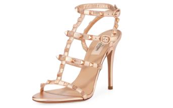 9494078c3 Shoe of the Day  Valentino Garavani Rockstud Caged Metallic Sandals